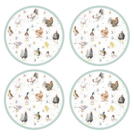 "Wrendale Designs ""Farmyard Feathers"" Runda bordsunderlägg 4-pack"
