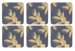 Sara Miller Etched Leaves - Navy Glasunderlägg 6-pack