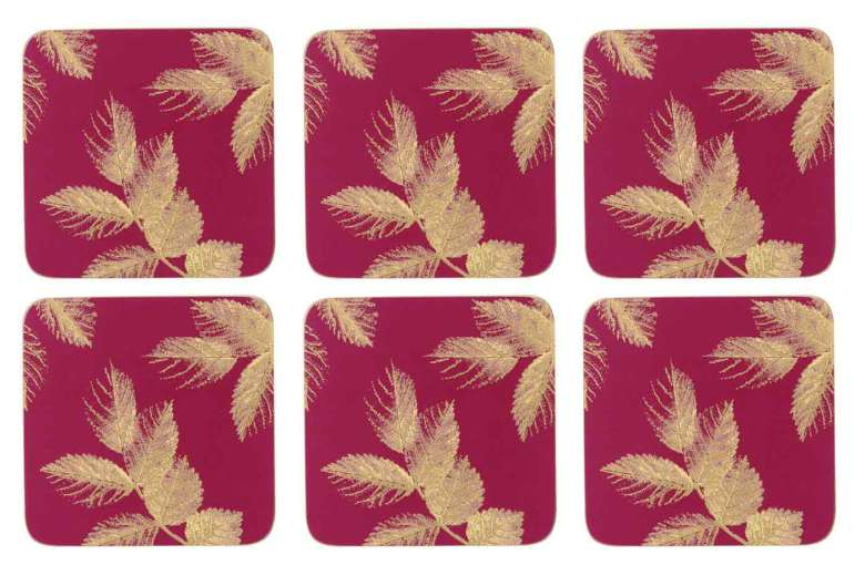Sara Miller Etched Leaves Glasunderlägg 6-pack - Pink