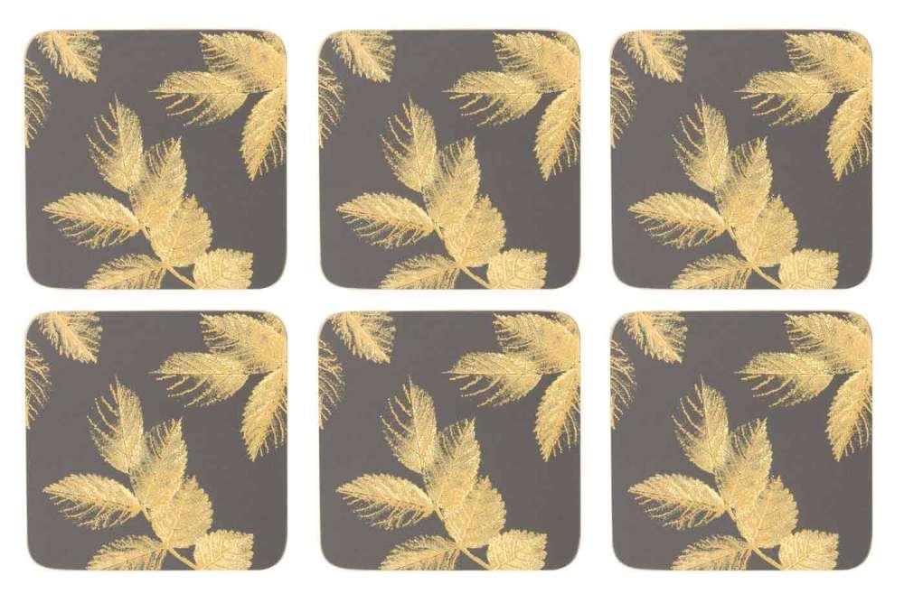 Sara Miller Etched Leaves - Dark Grey Glasunderlägg 6-pack