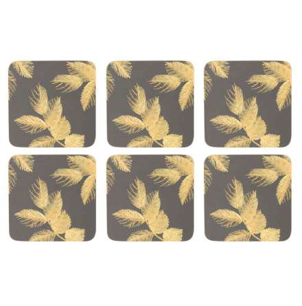 Sara Miller Etched Leaves - Dark Grey Glasunderlägg 6-pack