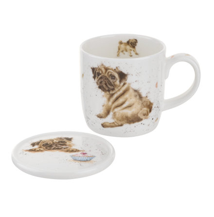 Wrendale Mug And Coaster Set - Pug Love