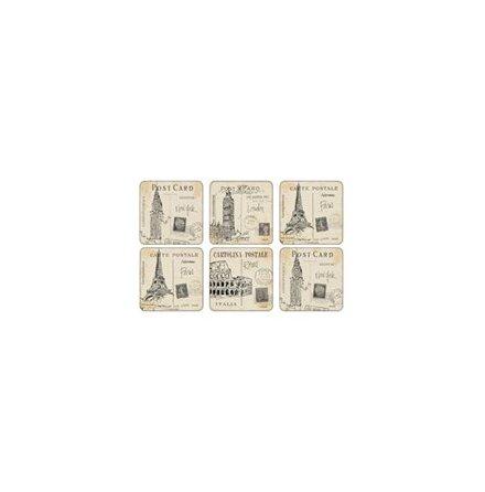 Postcard Sketches Glasunderlägg 6-pack
