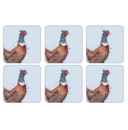 Wrendale Pheasant Glasunderlägg 6-pack
