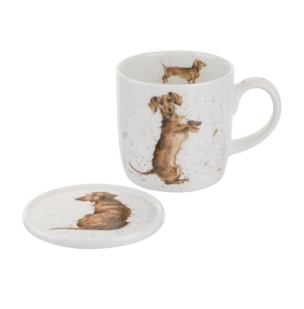 Wrendale Mug And Coaster Set - Hello Sausage