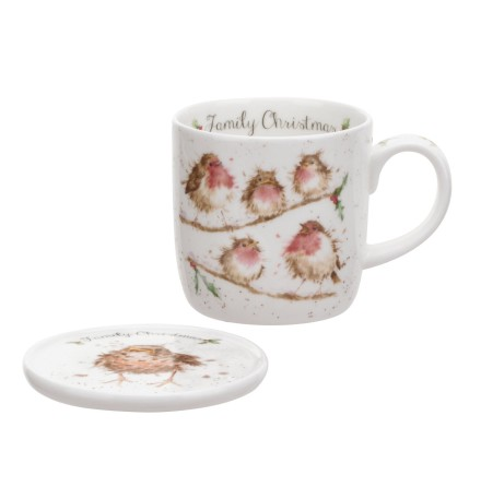 Wrendale Mug And Coaster Set - Family Christmas