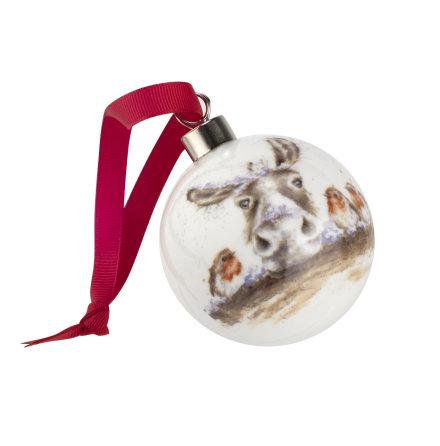 Wrendale Design The Christmas Donkey (donkey & robin) 6.6cm