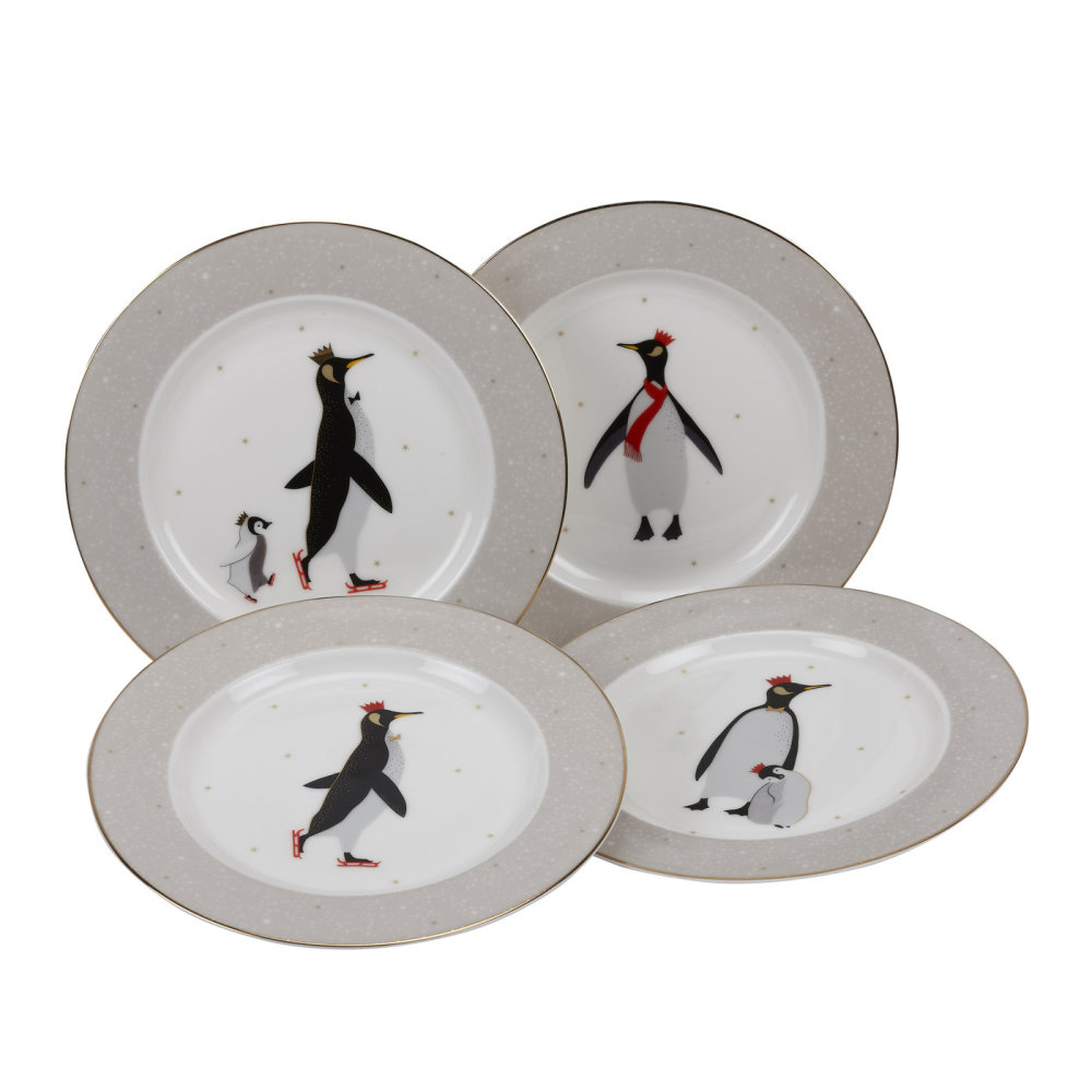 Sara Miller London Penguin Christmas Tallrikar 20cm 4-pack