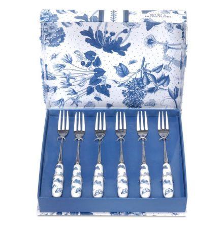 Botanic Blue Dessertgaffel 6-p 15cm