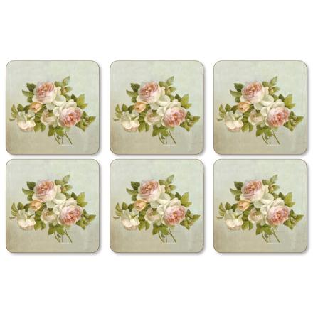 Antique Rose Glasunderlägg 6-pack