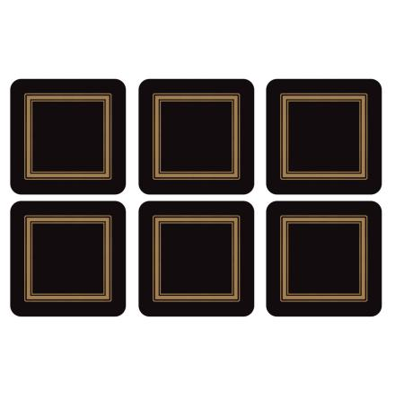 Classic Black Glasunderlägg 6-pack