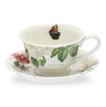 RHS Roses Tea Cup & Saucer 17c