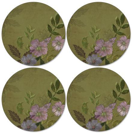 Autumn Green Runda bordsunderlägg 4-pack