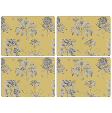 Etchings & Roses Yellow Bordsunderlägg 4-pack